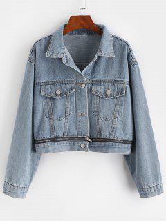 Button Up Zippered Hem Denim Jacket - Blue S