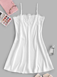 Mini Robe Pyjama à Bretelle Guipure Insérée - Blanc S