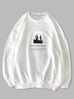 Sweatshirt Graphique FigureTexteImprimé à Goutte Epaule - Blanc 2xl