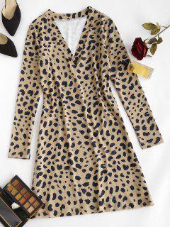 Leopard Animal Print Long Sleeve Tight Dress - Coffee M