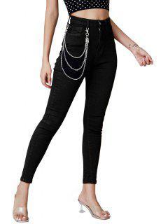 Chains Embellish Skinny Jeans - Black S