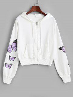 Pockets Zip Up Butterfly Hoodie - White S