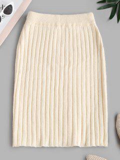 Ribbed Sheath Sweater Skirt - Light Coffee