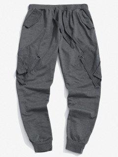 Pantalones Deportivos Con Cinta Y Bolsillos - Gris Oscuro 2xl