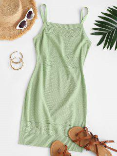 Straps Pointelle Knit Sweater Dress - Green M