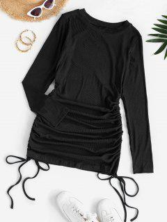 Drawstring Hem Ribbed Mini Bodycon Dress - Black S