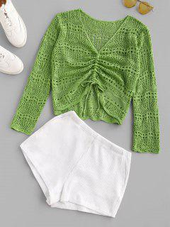 Openwork Colorblock Pocket Knitted Shorts Set - Green