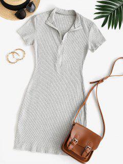 Half Zip Ribbed Bodycon Dress - Gray M