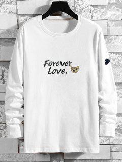 Forever Love Cartoon Dog Print T-shirt - White Xl