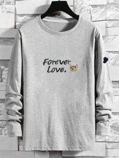 Forever Love Cartoon Dog Print T-shirt - Gray Xl