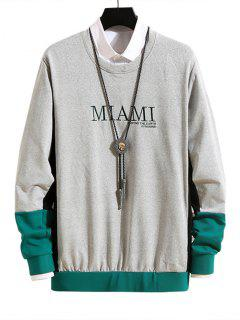 Letter Embroidery Colorblock Casual Sweatshirt - Gray Cloud S