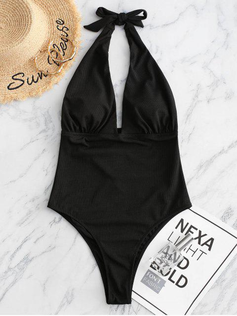 chic ZAFUL Halter Ribbed High Leg One-piece Swimsuit - BLACK S Mobile