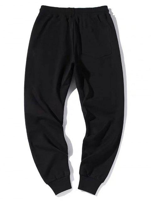 ZAFUL Pantalones Deportivos con Estampado de Letras con Bandera Americana - Negro L Mobile