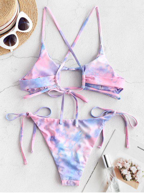 shop ZAFUL Tie Dye Crisscross Cutout Bikini Swimsuit - JEANS BLUE M Mobile