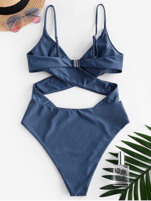 best ZAFUL Wrap Bodice Cutout One-piece Swimsuit - BLUE KOI S Mobile