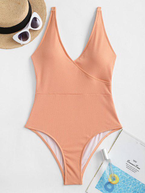 shops ZAFUL Basic Ribbed One-piece Swimsuit - ORANGE PINK S Mobile