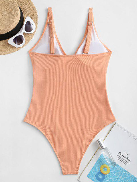 trendy ZAFUL Basic Ribbed One-piece Swimsuit - ORANGE PINK L Mobile