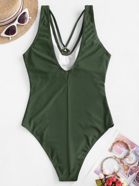 Costume Intero di ZAFUL con Spalline Principessa - Verde Dell'esercito L Mobile