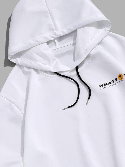 new Animal Cat Letter Print Drawstring Hoodie - WHITE M Mobile