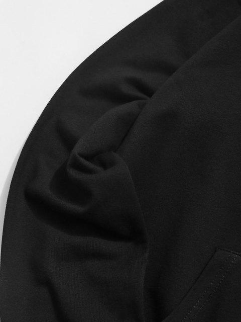 Sweat à Capuche Rose Graphique avec Poche à Cordon - Noir XS Mobile