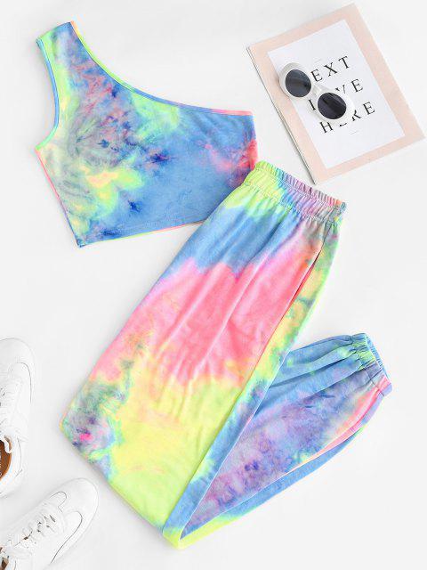 best Sweat Tie Dye One Shoulder Two Piece Set - MULTI L Mobile