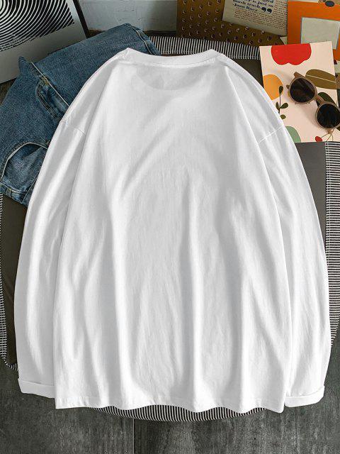 Maglietta con Cappuccio con Coulisse e Maniche Lunghe - Bianca L Mobile