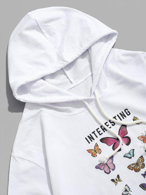 online Interesting Freedom Butterfly Graphic Hoodie - WHITE XS Mobile