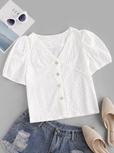 chic Broderie Anglaise Puff Sleeve V Neck Blouse - WHITE S Mobile