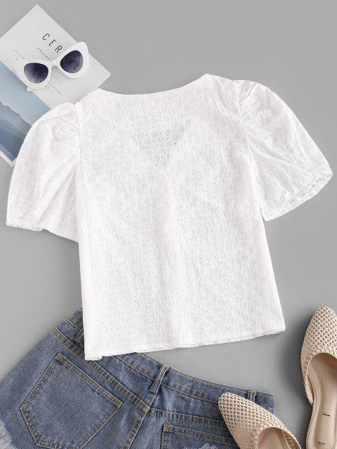 shops Broderie Anglaise Puff Sleeve V Neck Blouse - WHITE M Mobile