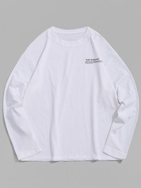 Letter Print Crew Neck T Shirt - أبيض 4XL Mobile