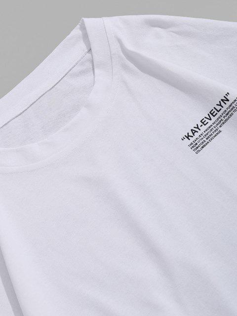 Buchstabe Druck Rundhalsausschnitt T-Shirt - Weiß 3XL Mobile