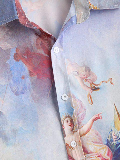 latest Long Sleeve Renaissance Art Shirt - LIGHT BLUE XL Mobile