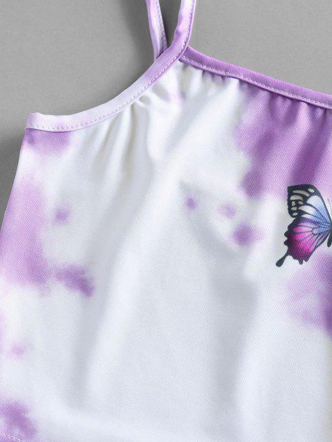 Top Cami Corto di Tie-Dye con Stampa Farfalla di ZAFUL - Viola chiaro M Mobile