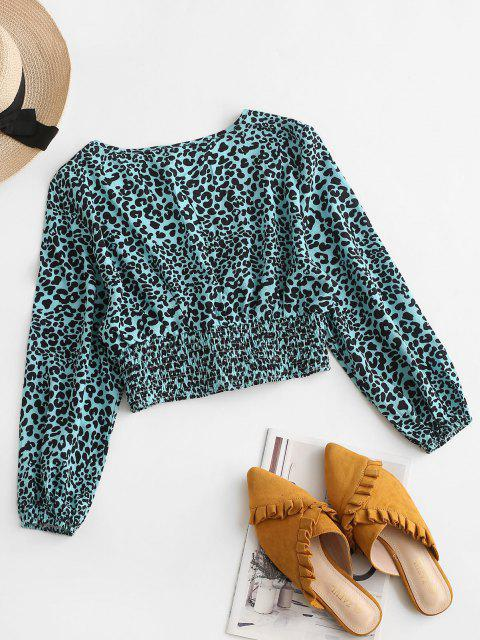 outfit ZAFUL Leopard Smocked Waist Cropped Blouse - BLUE L Mobile