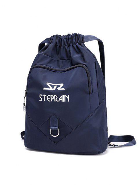 shop Letter Pattern Folded Drawstring Backpack - DEEP BLUE  Mobile