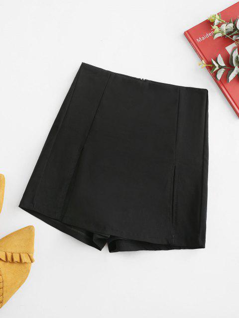 online Solid Front Slit Denim Skorts - BLACK M Mobile