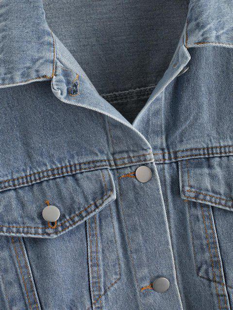 Knopf Reißverschluss Saum Jeansjacke - Blau S Mobile