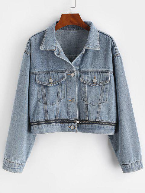 Button Up Zippered Hem Denim Jacket - أزرق M Mobile