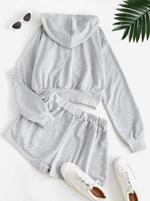 trendy Sweat Marled Zip Up Hoodie and Shorts Set - GRAY L Mobile