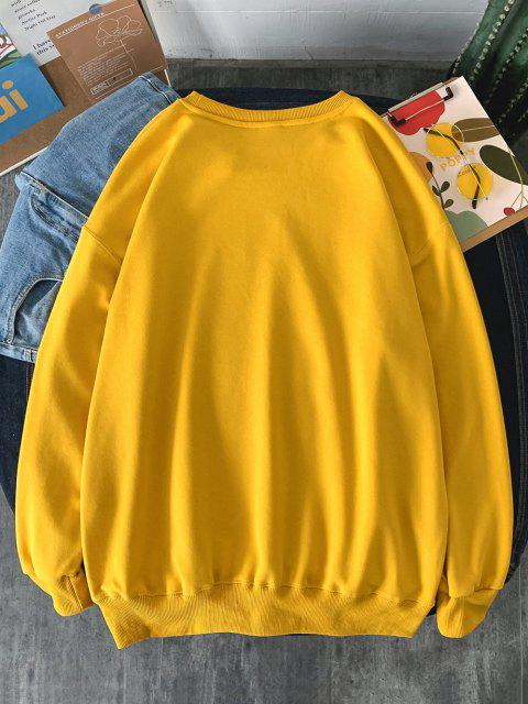 unique Figure Graphic Text Print Drop Shoulder Sweatshirt - YELLOW XL Mobile