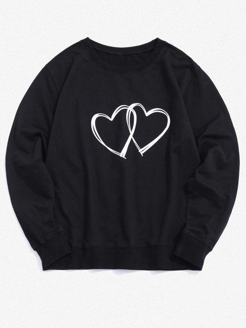 shop Dual Hearts Graphic Crew Neck Lounge Sweatshirt - BLACK XS Mobile