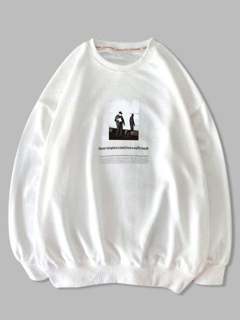 Sweatshirt Graphique FigureTexteImprimé à Goutte Epaule - Blanc XL Mobile