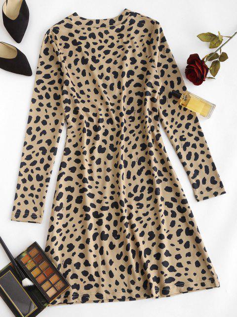 Vestido Ajustado Manga Larga Estampado Animal Leopardo - café S Mobile