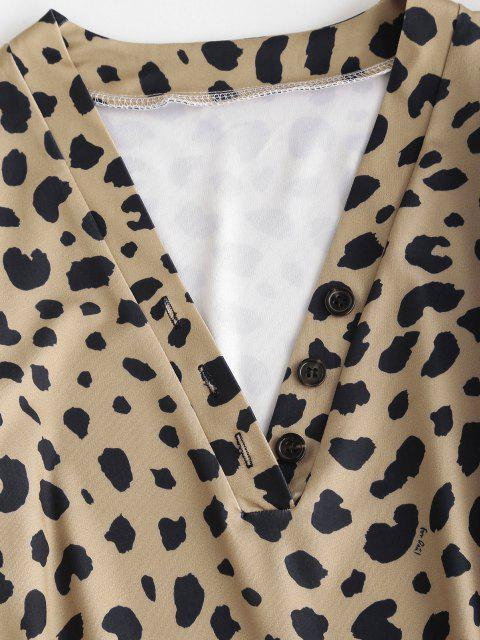 shops Leopard Animal Print Long Sleeve Tight Dress - COFFEE M Mobile