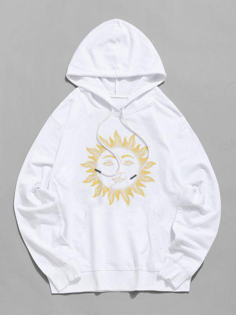 Sweat à Capuche Graphique Visage du Soleil avec Poche à Cordon - Blanc XS Mobile