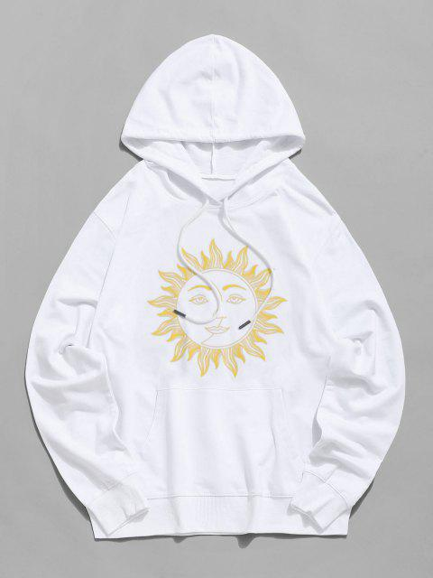 trendy Sun Face Graphic Drawstring Pouch Pocket Hoodie - WHITE S Mobile