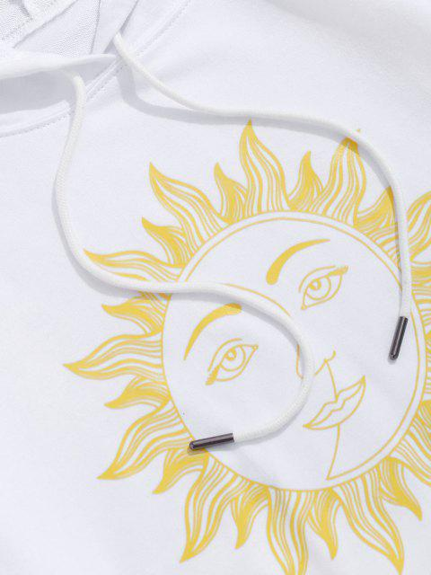 womens Sun Face Graphic Drawstring Pouch Pocket Hoodie - WHITE L Mobile