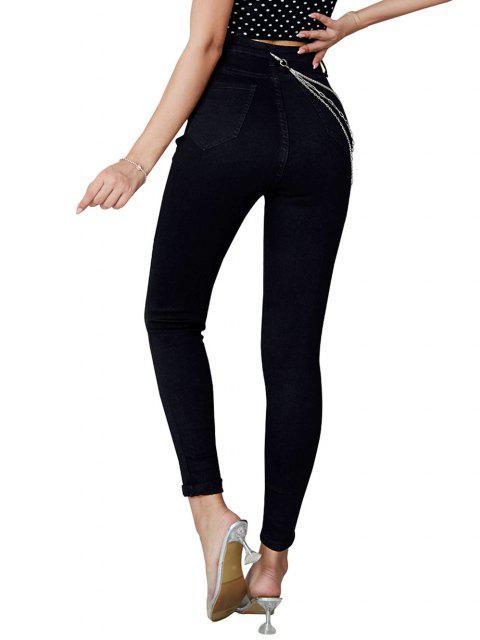 fashion Chains Embellish Skinny Jeans - BLACK S Mobile