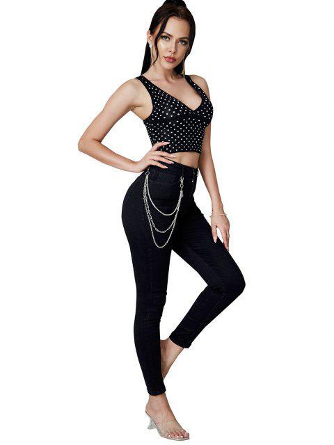 Jeans Ajustados Cadenas - Negro S Mobile