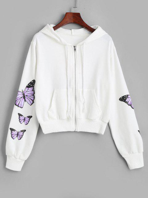 women Pockets Zip Up Butterfly Hoodie - WHITE M Mobile